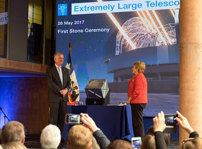 The President of Chile, Michelle Bachelet, seals the time capsule at the first stone ceremony for the ELT