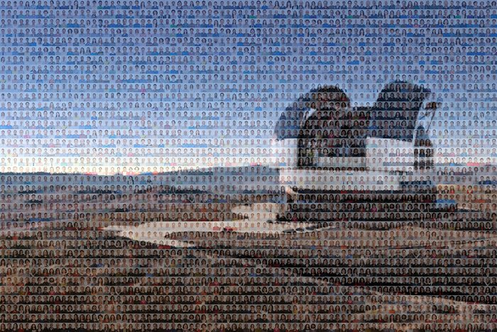 Mosaic of the ELT made from portraits of ESO staff