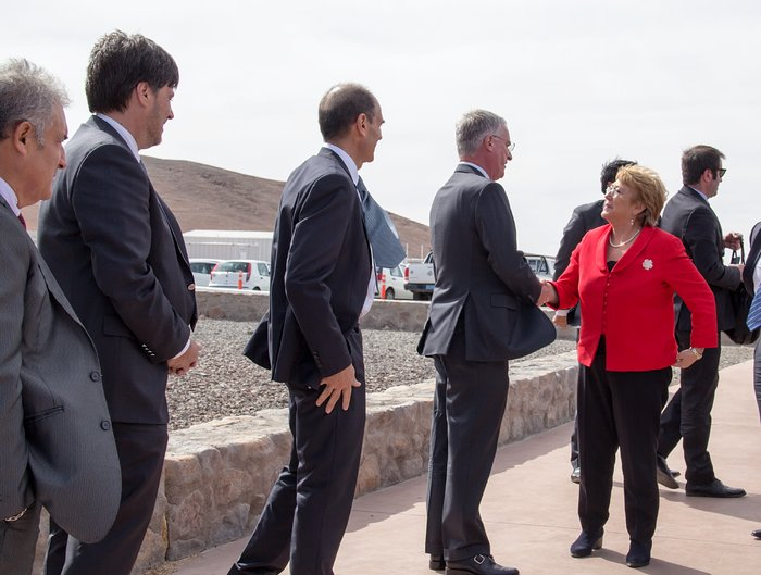 The President of Chile, Michelle Bachelet, arrives at the first stone ceremony for the ELT