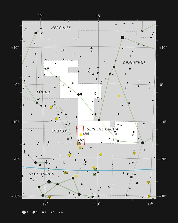 Nebulae on the borders of the constellations of Sagittarius and Serpens