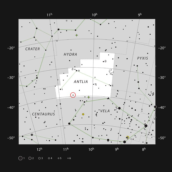 The star U Ant in the constellation of Antlia (The Air Pump)