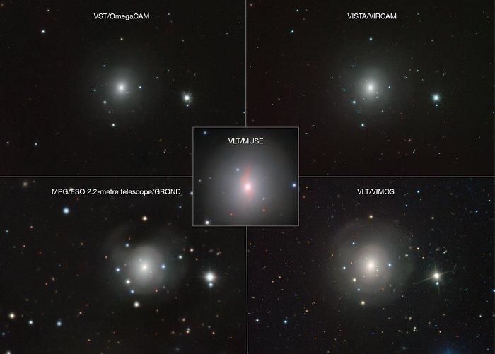 Zusammenstellung von Bildern von NGC 4993 und der Kilonova mit verschiedenen ESO-Instrumenten