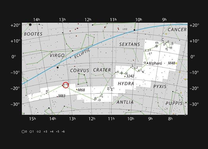 Галактика NGC 4993 в созвездии Гидры