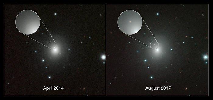 Composición de imágenes de la galaxia NGC 4993 y la kilonova