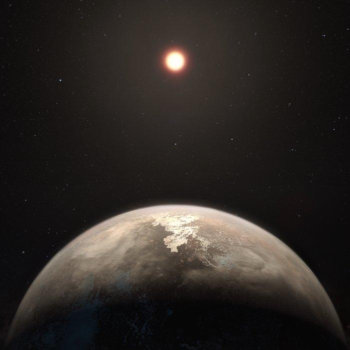 Rappresentazione artistica del pianeta Ross 128 b