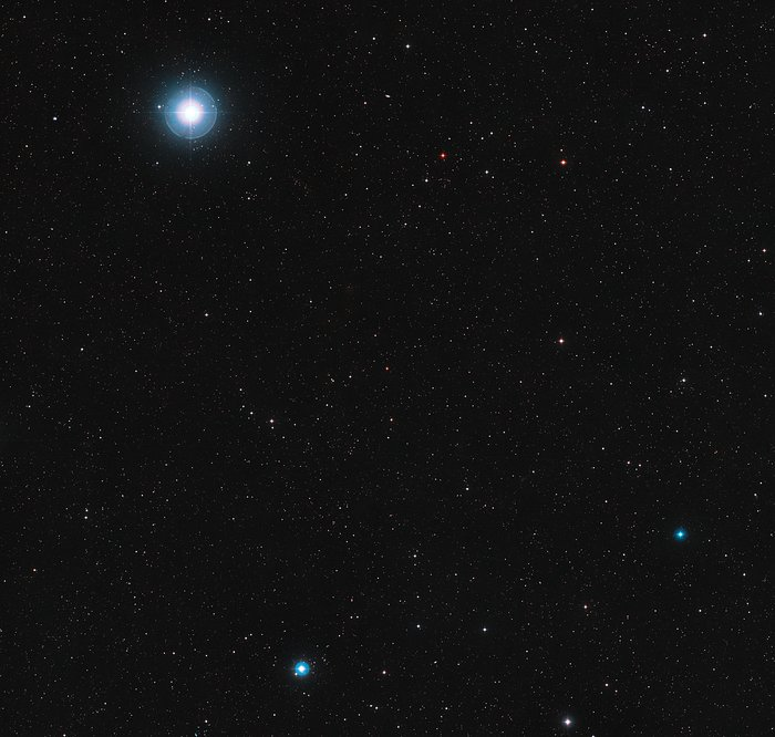 De hemel rond de rode dwergster Ross 128
