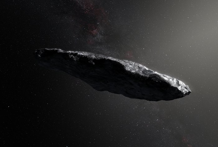 Illustration af den interstellare asteroide `Oumuamua