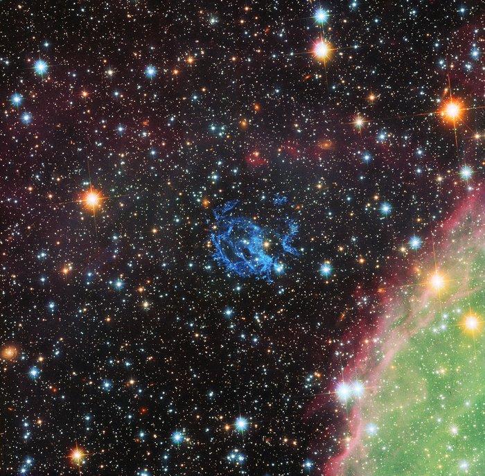 Hubble-bilde av omgivelsene rundt en skjult nøytronstjerne i Den lille magellanske sky