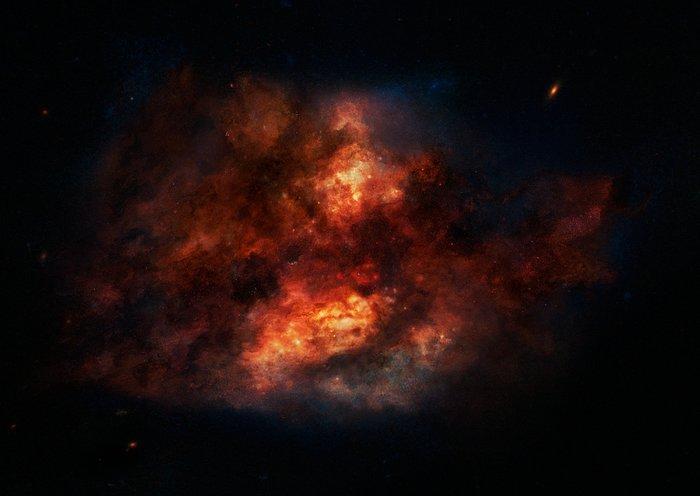 Ilustración de una polvorienta galaxia con brote de formación estelar