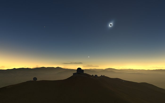 Clear-weather simulation of the 2019 eclipse viewed from La Silla