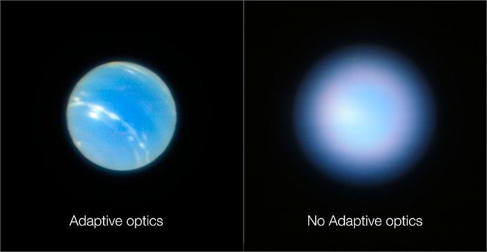 Изображения Нептуна, полученные на VLT с адаптивной оптикой и без нее