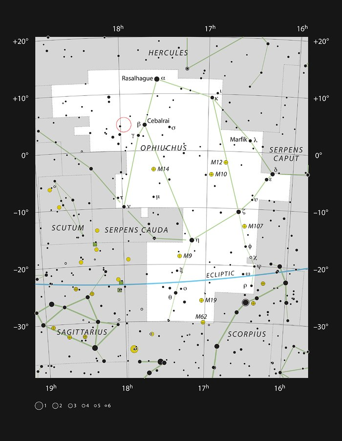 Barnard's Star in the constellation Ophiuchus