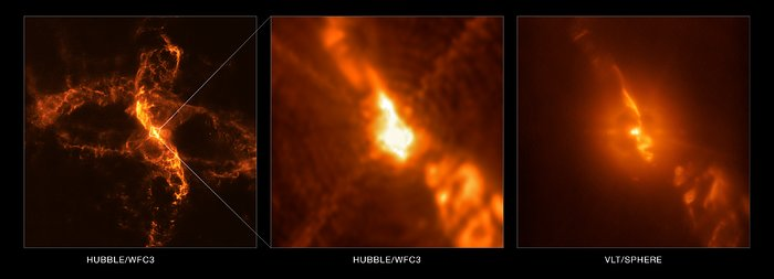 R Aquarii vista por el VLT (Very Large Telescope) y por el Hubble