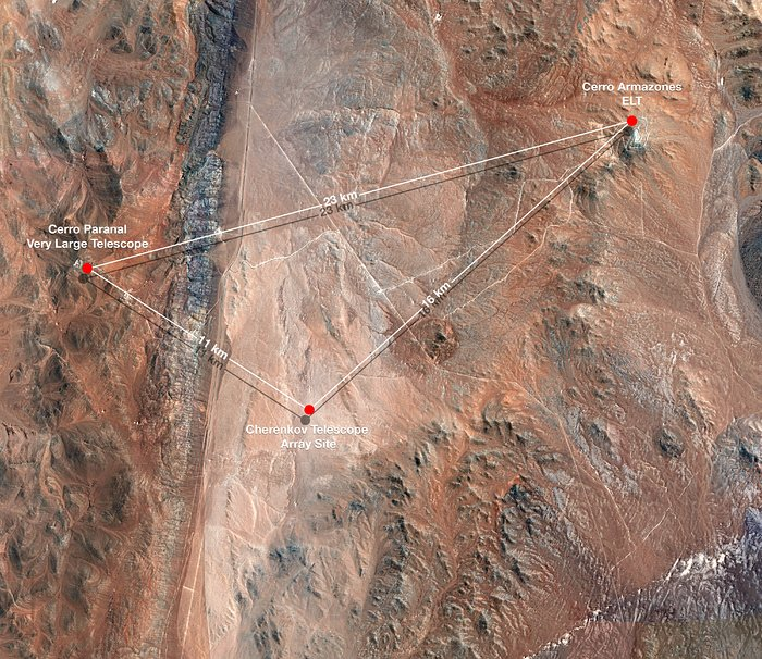 Map showing CTA's Location at Paranal