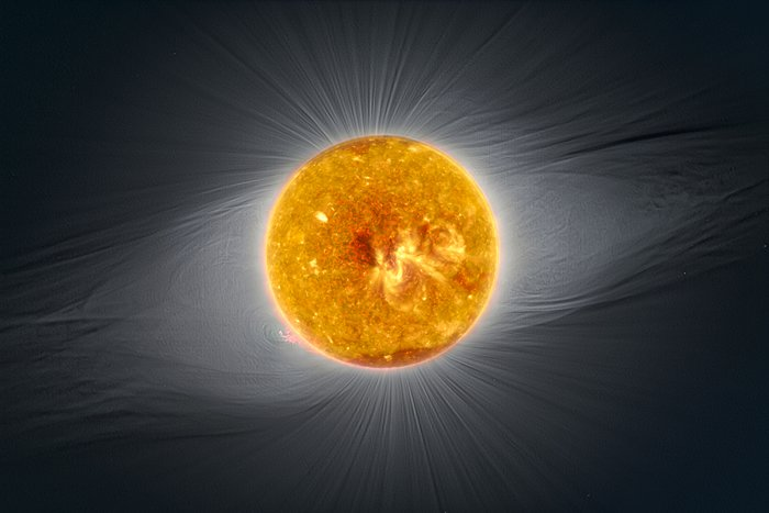 Combined image from SOHO, Solar Dynamics Observatory and La Silla