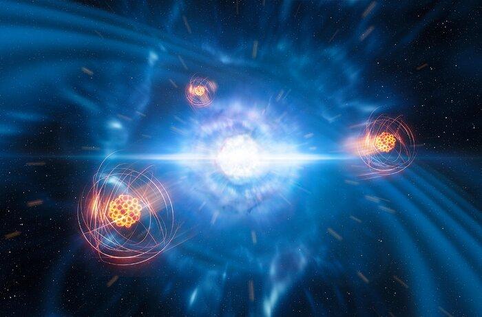 Künstlerische Darstellung der Entstehung von Strontium aus einer Verschmelzung von Neutronensternen