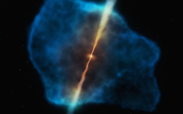 Artistic impression of a distant quasar surrounded by a gas halo