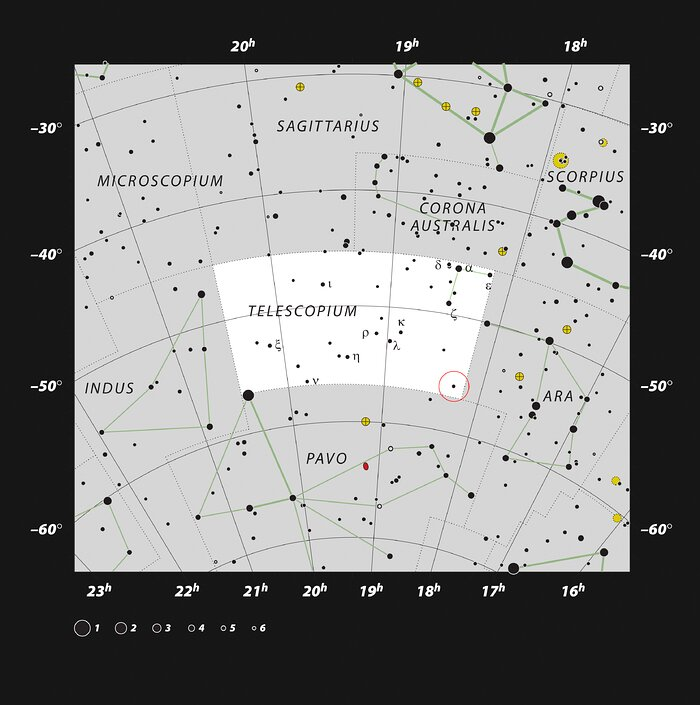 Localização de HR 6819 na constelação do Telescópio