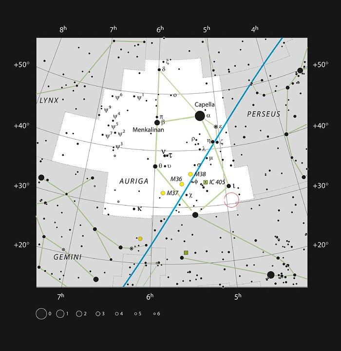 Positie van AB Aurigae in het sterrenbeeld Auriga (Voerman)