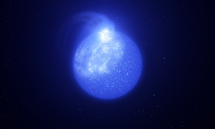 Artist's impression of star plagued by giant magnetic spot