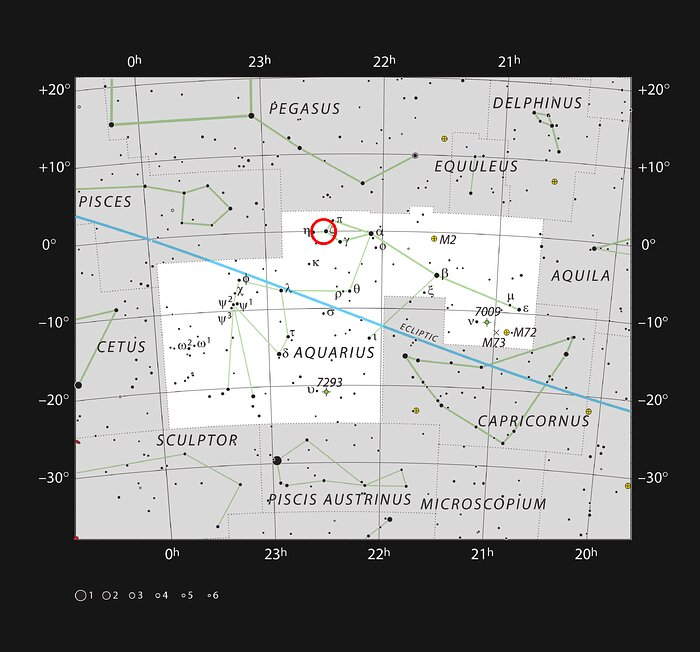 Location of the Kinman Dwarf galaxy in the constellation of Aquarius