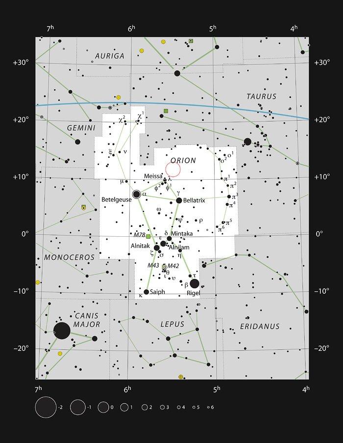 GW Orionis na constelação de Orion