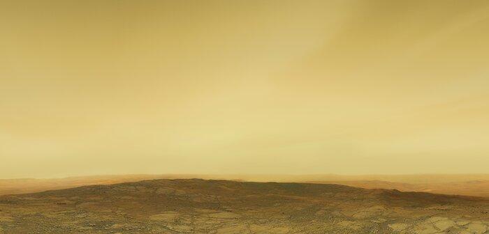 Künstlerische Darstellung der Oberfläche und der Atmosphäre der Venus (ohne Beschriftung)