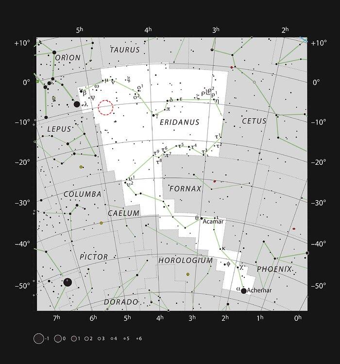 Ort von AT2019qiz im Sternbild Eridanus