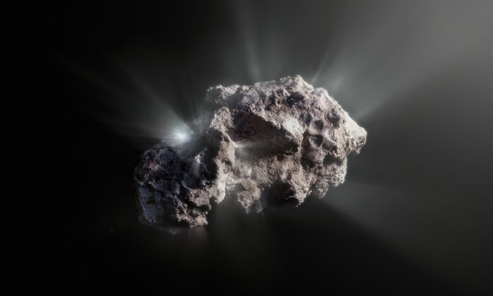 Artist's impression of the surface of interstellar comet 2I/Borisov