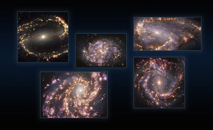 Fünf Galaxien, die mit MUSE am VLT der ESO bei verschiedenen Wellenlängen des Lichts aufgenommen wurden