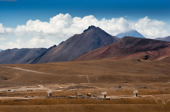 The first three ALMA antennas at the Array Operations Site (AOS) on Chajnantor