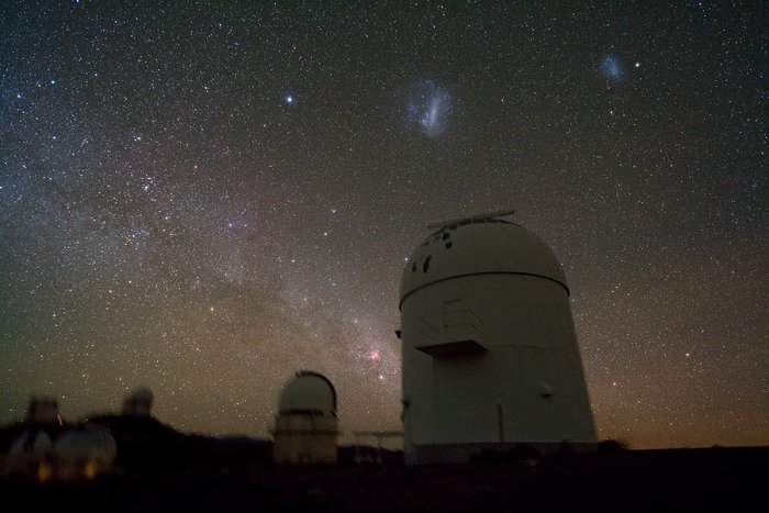 Telescope domes clustered at La Silla