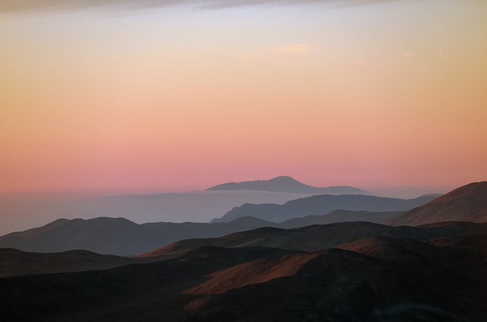 Chilean landscape with pinky skies