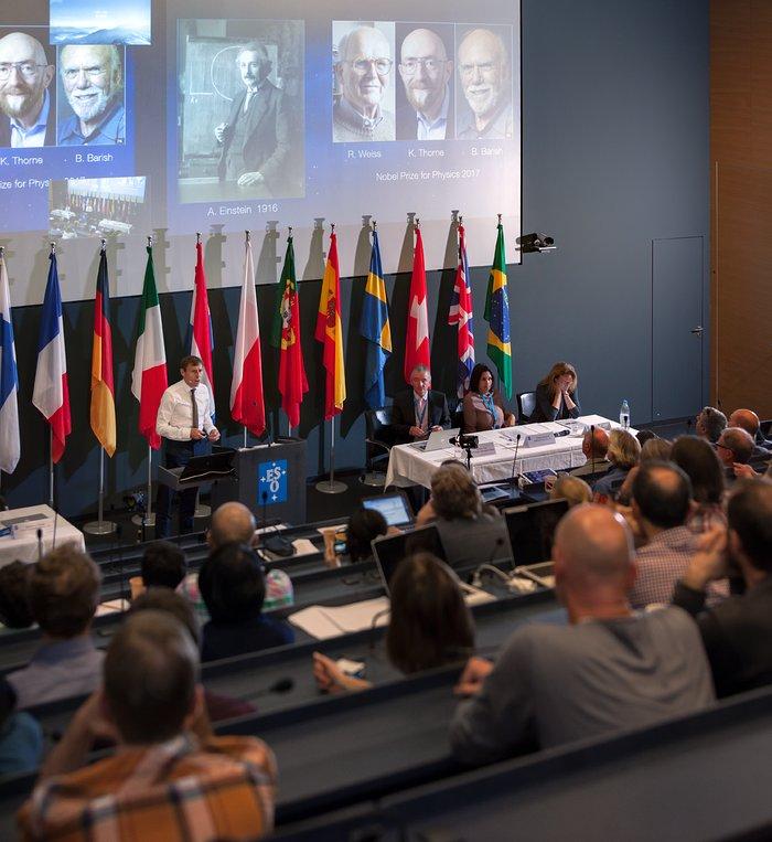 Professor Stephen Smartt speaks during ESO neutron merger press conference