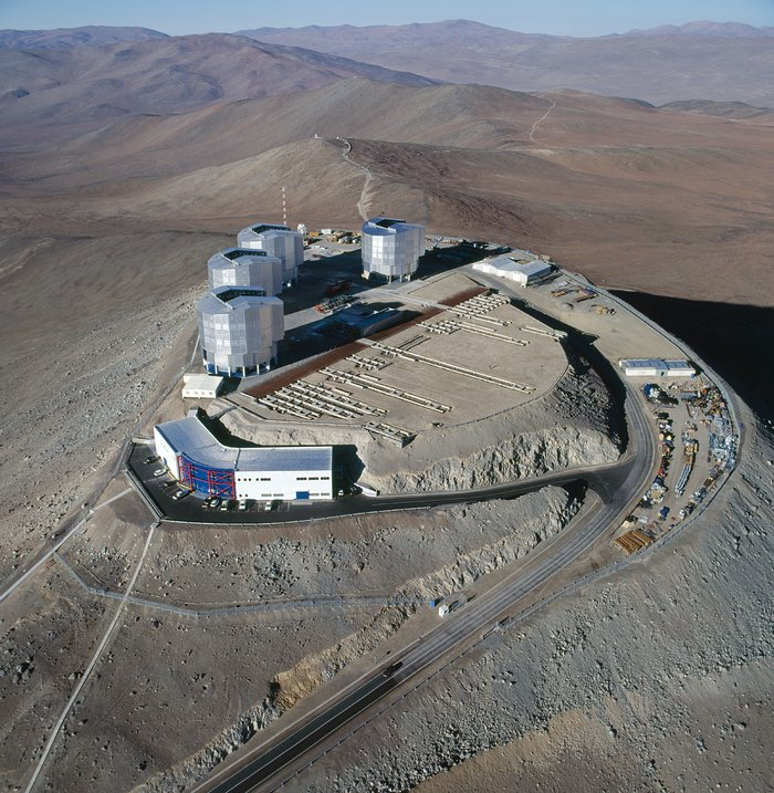 An aerial view of the Paranal Observatory in Chile