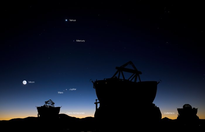 Conjunción planetaria sobre Paranal