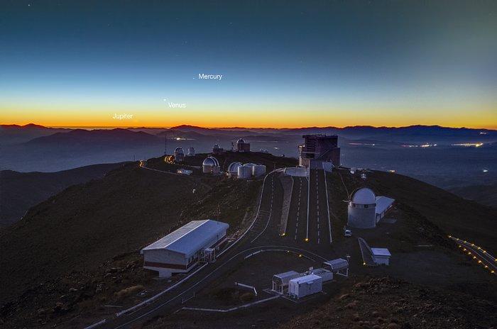 Planets align over La Silla (labelled)