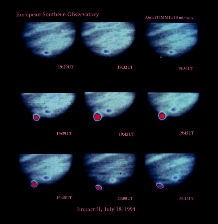 Images of Shoemaker-Levy 9 impact on Jupiter