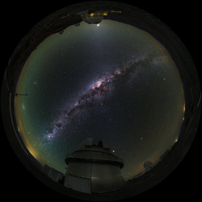 Fish-Eye View of La Silla Telescopes Shown in UHD
