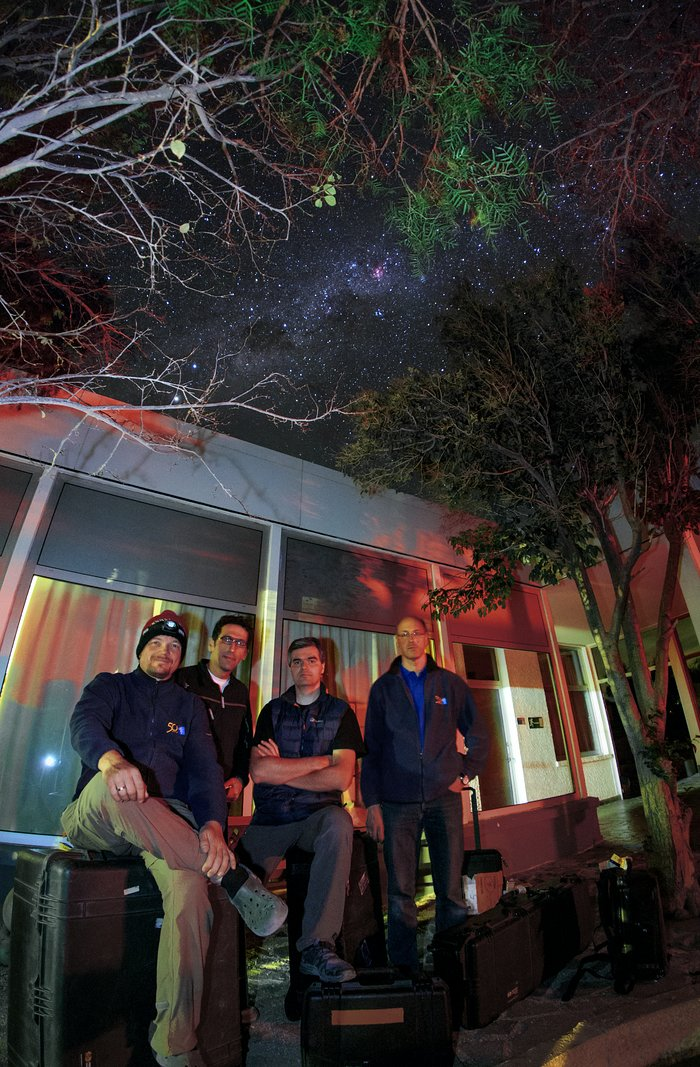 ESO Ultra HD Expedition team just outside the hotel area at La Silla at night
