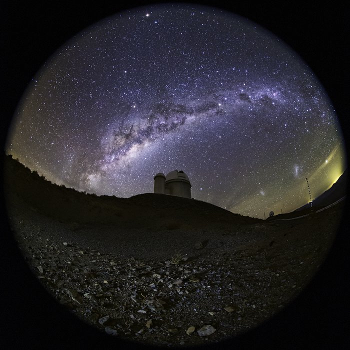 A fish-eye view of the ESO 3.6-metre telescope
