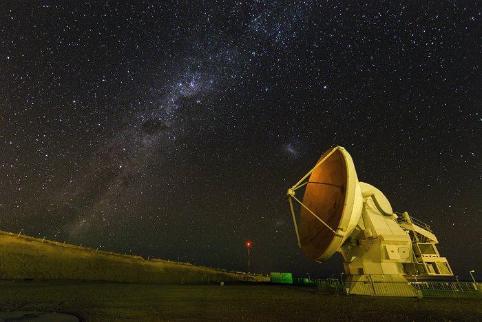 ALMA antenna at night.