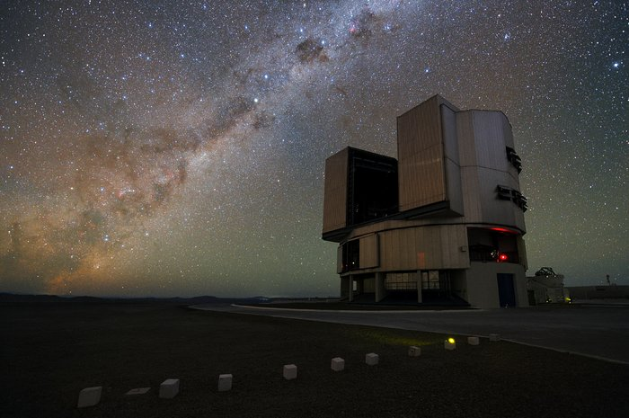 Milky Way illuminating the VLT platform