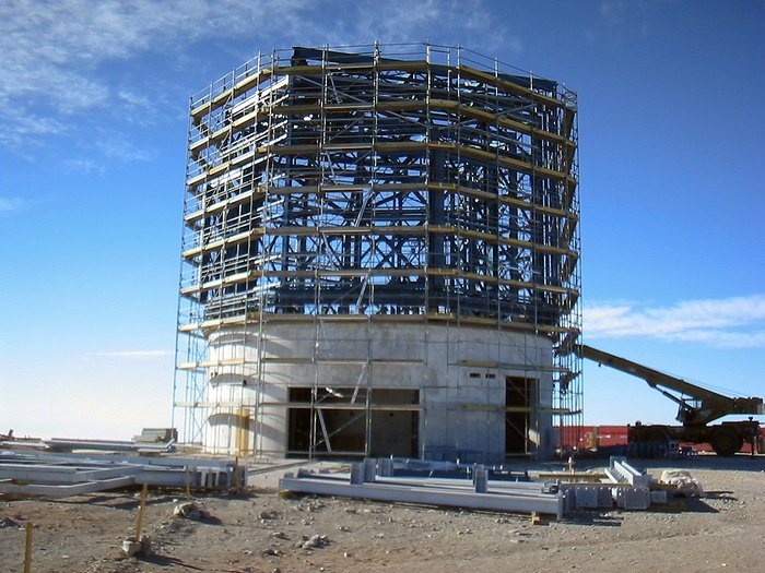 The VISTA telescope enclosure under construction