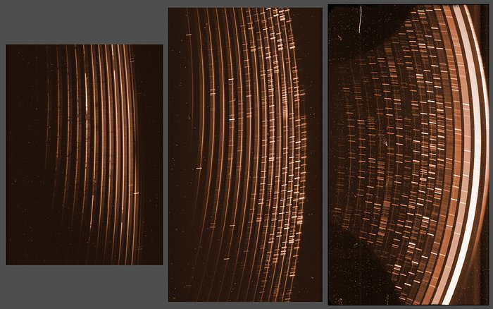 Raw images obtained simultaneously by the three detectors of the X-Shooter instrument on the VLT