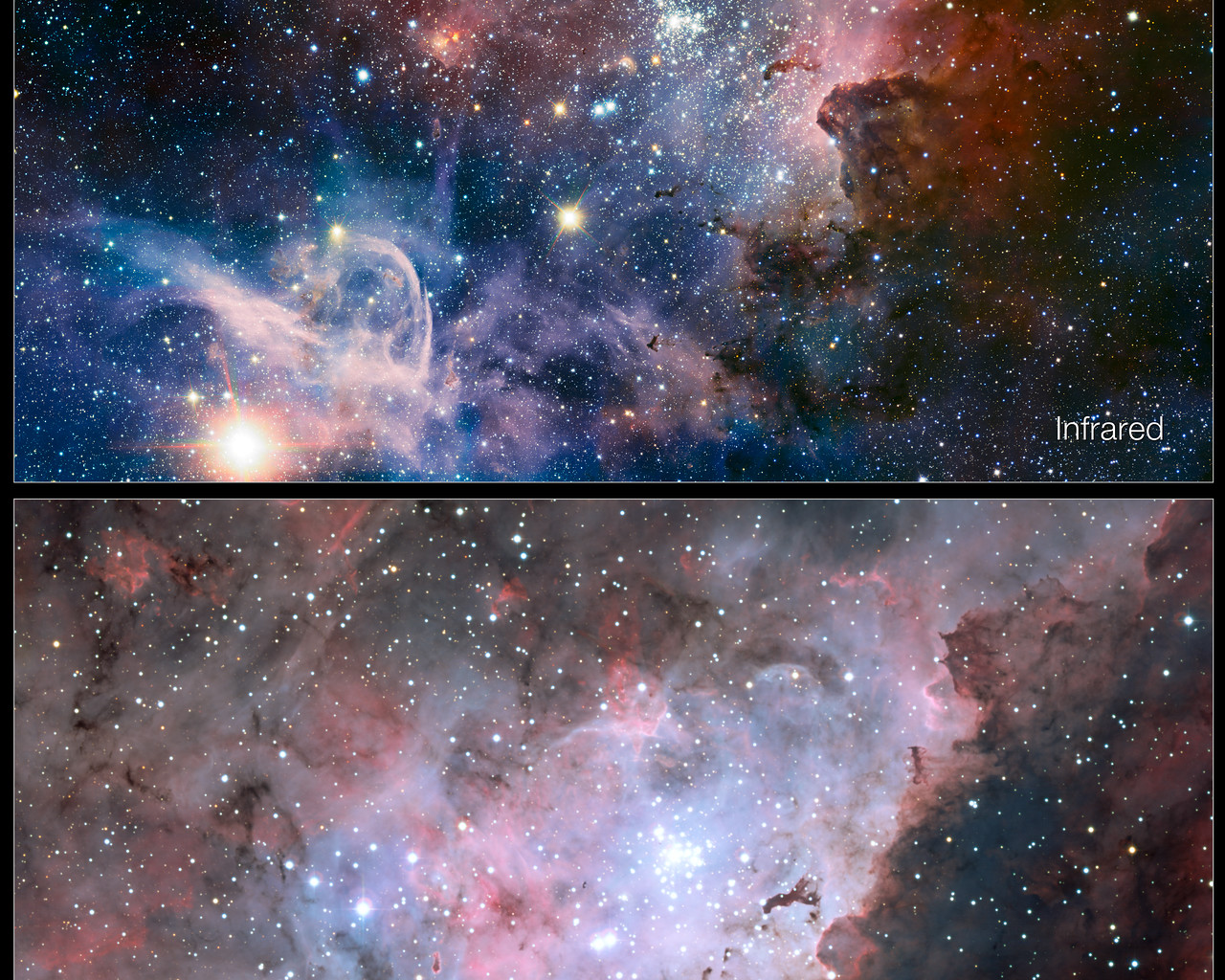 Infrared Visible Light Comparison View Of The Helix Nebula: Infrared/visible-light Comparison Of The Carina Nebula