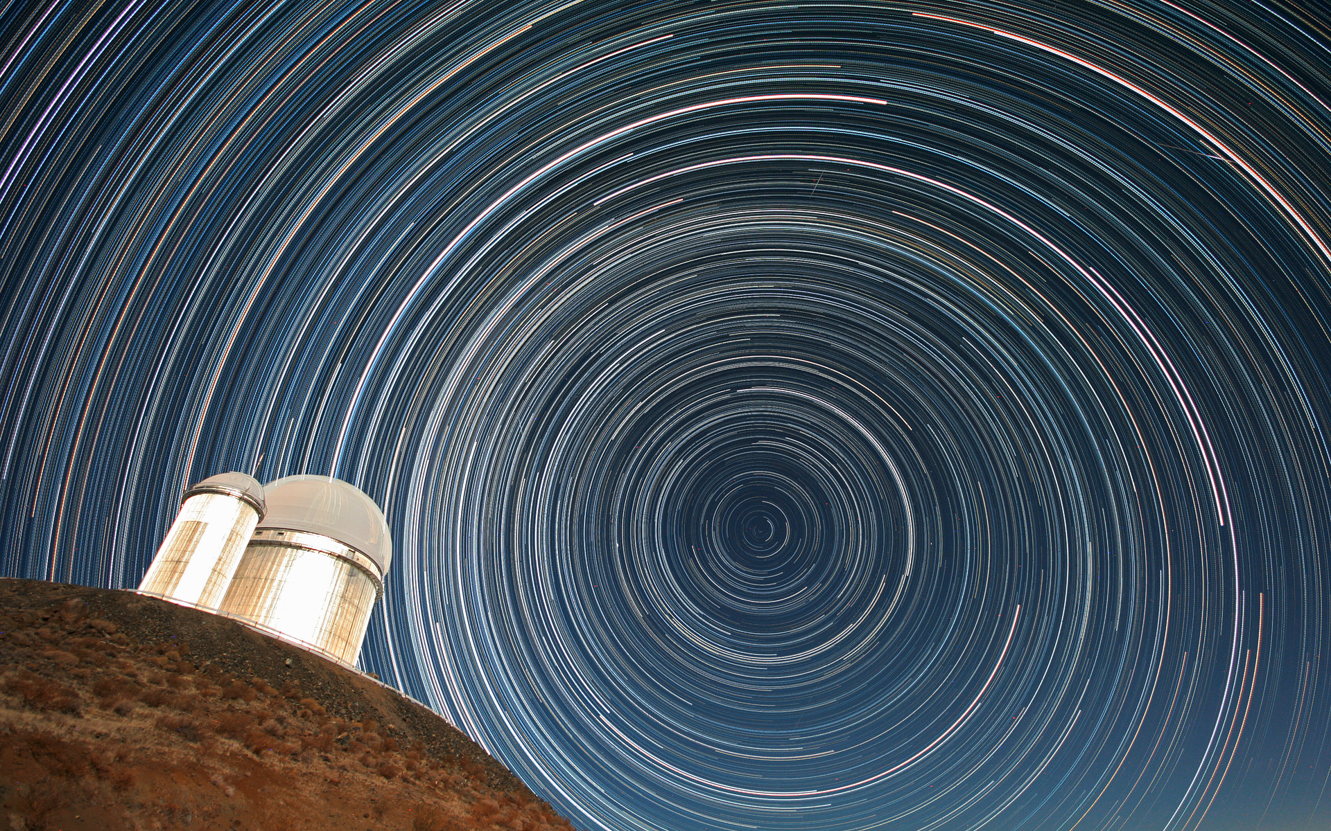 Star trails over the ESO 3 6-metre telescope   ESO