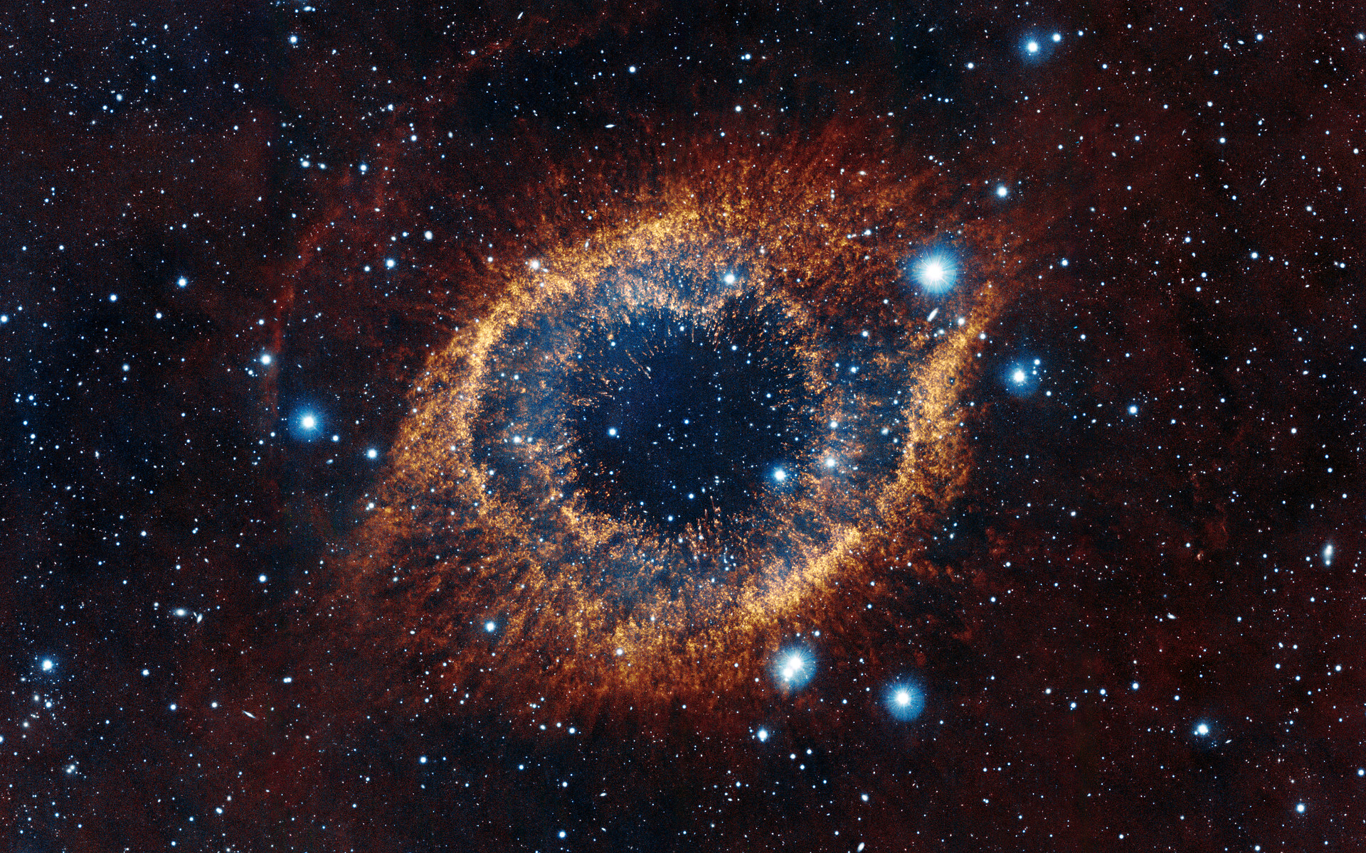 Vista s look at the helix nebula eso for Espacio exterior 4k