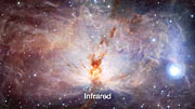 Infrared-visual crossfade, Flame Nebula (Annotated)