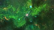 Un estallido de rayos gamma enterrado en polvo (impresión artística)